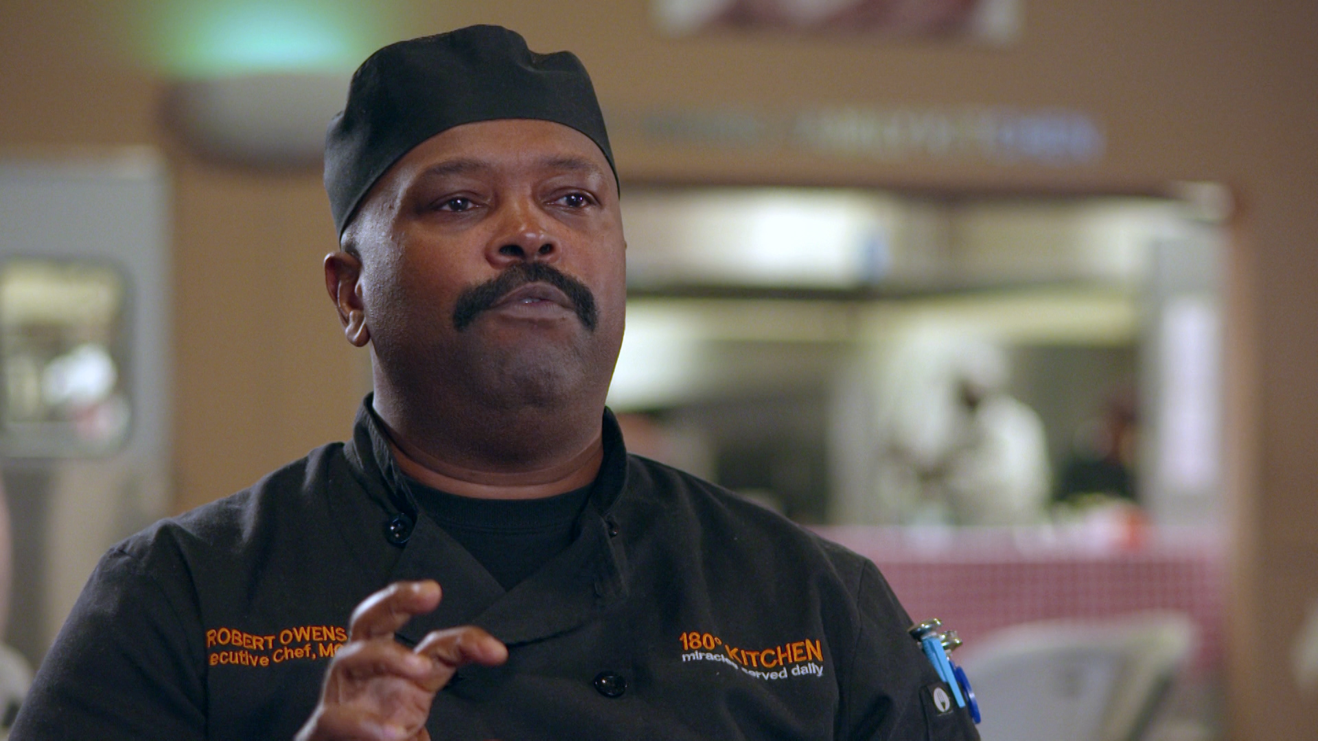Production still from Reality Show of Chef Robert Owens from 180 Kitchen