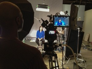 Actor behind the scenes of a non-profit video shoot