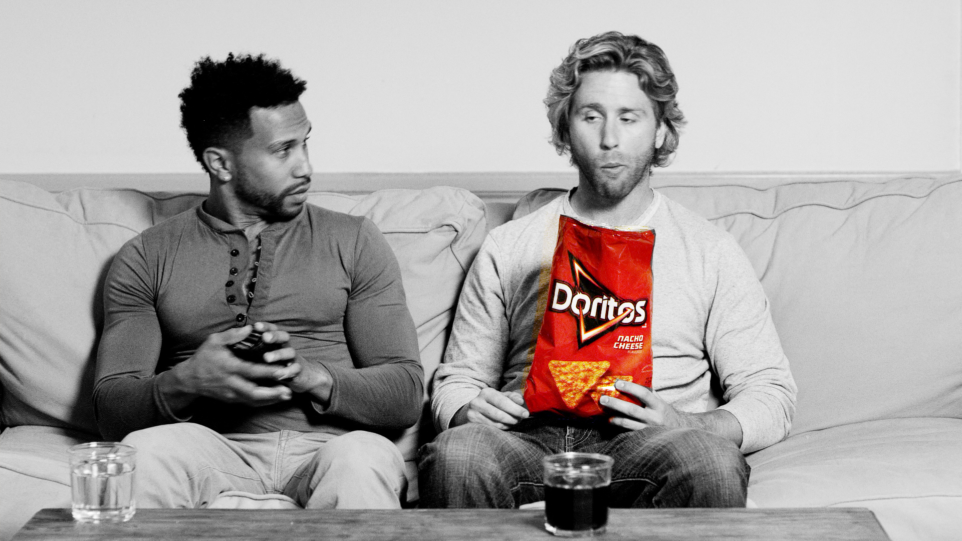 Video Marketing Ad Shows Two men on couch during commercial production